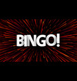 abstract bingo poster with red firework vector image
