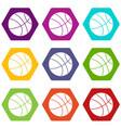 basketball ball icon set color hexahedron vector image vector image