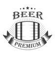 beer premium graphic logo with oak barrel vector image