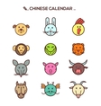 Black line Chinese zodiac animal icons vector image vector image