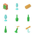 bottle of alcohol icons set isometric style vector image vector image
