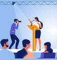 business woman on stage in front audience vector image vector image