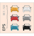 car icons set for architectural drawing and vector image