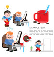 cartoon characters in social sketches a man works vector image vector image