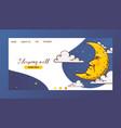 cartoon moon landing page moonlight star vector image vector image