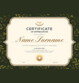 certificate template with vintage frame on dark vector image vector image