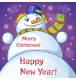 Christmas card with snowman and holiday greetings vector image