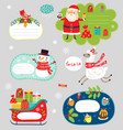 christmas sticker and elements vector image vector image