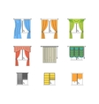 Colorful Curtains Types Thin Line Set vector image