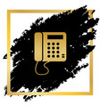 communication or phone sign golden icon vector image vector image