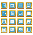 computer chips icons azure vector image vector image