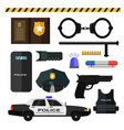 concept police equipment isolated on white vector image