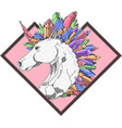 cool unicorn colorful crystal vector image vector image