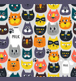 creative seamless background with cats faces in vector image vector image