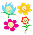 cute flowers sticker on white background vector image vector image