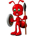 funny red ant with shield and spear cartoon vector image vector image