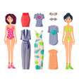 girls in swimwear with stylish summer clothes set vector image vector image
