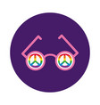 glasses with peace symbols gay pride block style vector image vector image