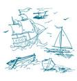 hand drawn logo of vintage sailing ship in vector image vector image