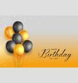 happy birthday gold and black celebration vector image