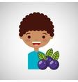 happy boy with delicious plums fruit design vector image vector image
