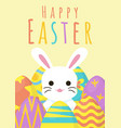 happy easter greeting background with egg around vector image vector image