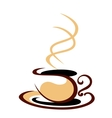 hot steaming cup coffee vector image vector image