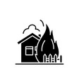 house fire black icon sign on isolated vector image