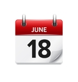 June 18 flat daily calendar icon Date vector image vector image