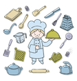 Kitchener tools color icons set vector image vector image