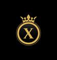 letter x royal crown luxury logo design vector image vector image