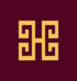 luxury letter h initial logo vector image