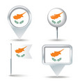 Map pins with flag of Cyprus vector image vector image