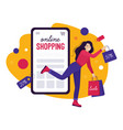 online shopping in store on smartphone vector image vector image