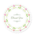 round doily frame decorated with roses thank you vector image