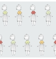 Seamless texture with cute princess on grey vector image vector image