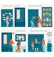 set bullying scenes among school children flat vector image vector image