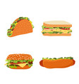 set fast food hotdog sandwich burger hamburger vector image vector image