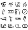 set movie cinema and theater icons vector image