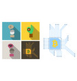 set of economic icons included blockchain vector image vector image