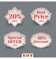 Set of Sale Paper Retro Labels vector image vector image