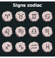 Signs of the zodiac on the old stones vector image vector image