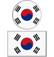 South Korean round and square icon flag vector image vector image