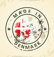 Stamp with map flag of Denmark vector image vector image