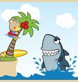 surfer and shark attack cartoon