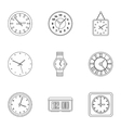 Time dimension icons set outline style vector image