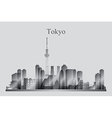 Tokyo city skyline silhouette in grayscale vector image vector image