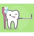 Tooth and toothbrush makes selfie vector image