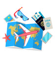 tourist concept set of things for traveling vector image vector image