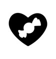 valentines day candy icon black heart valentines vector image